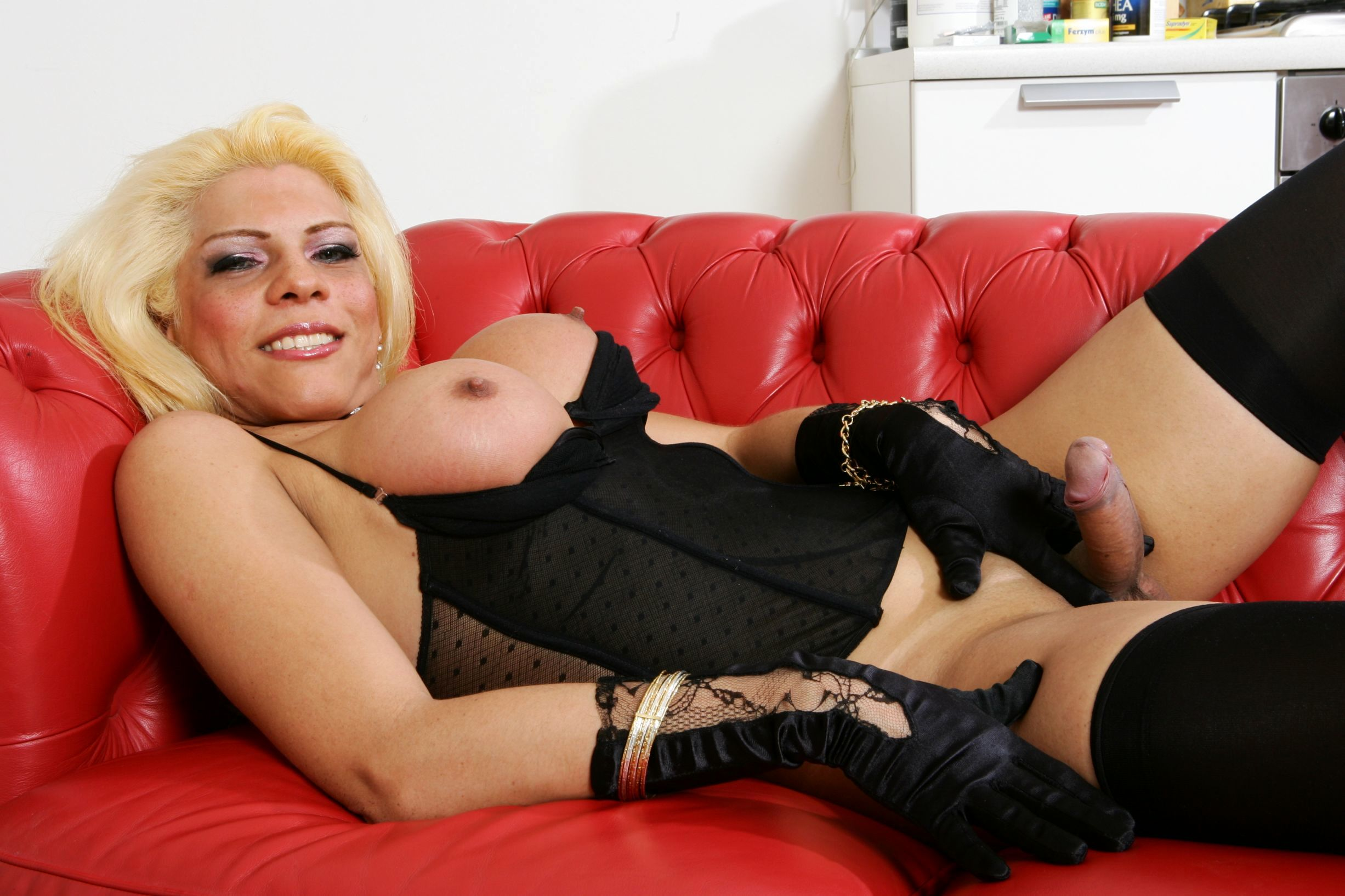Busty Blond T-Girl Bangs