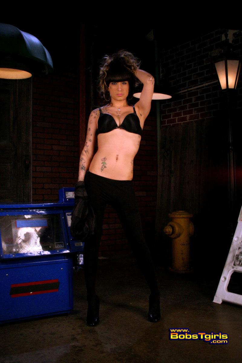 Busty Tranny Kelly Posing As A Slutty Alley Cat