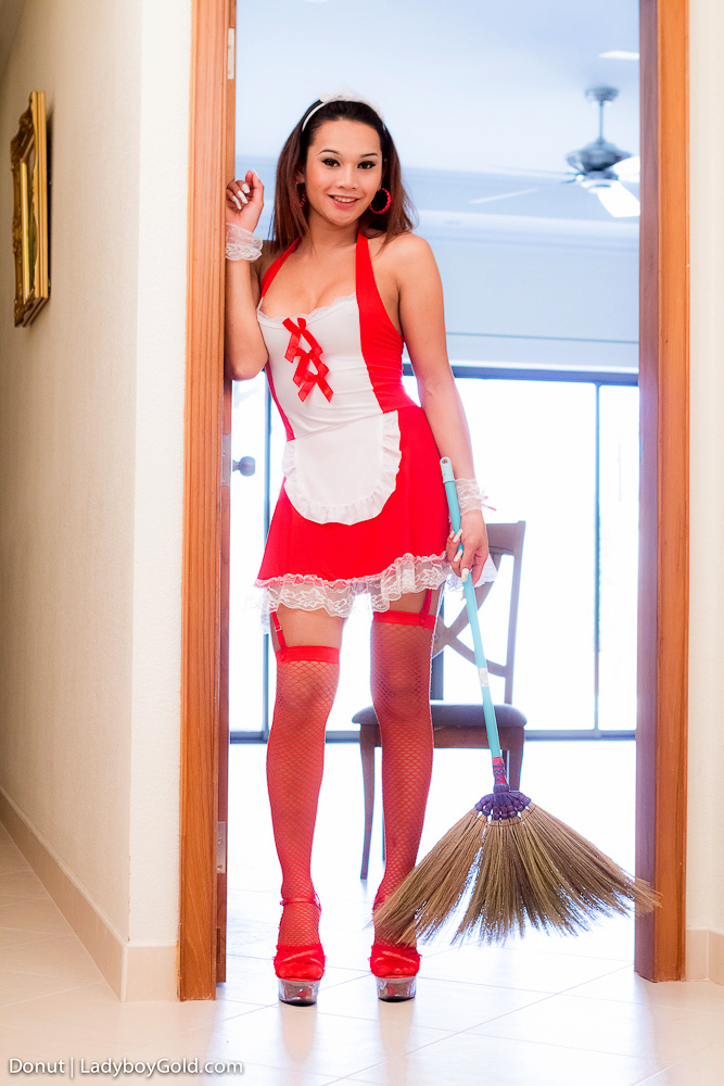 Fantasy Dickgirl Donut Stuffs Her Maid Bum With Massive Rubber Toy