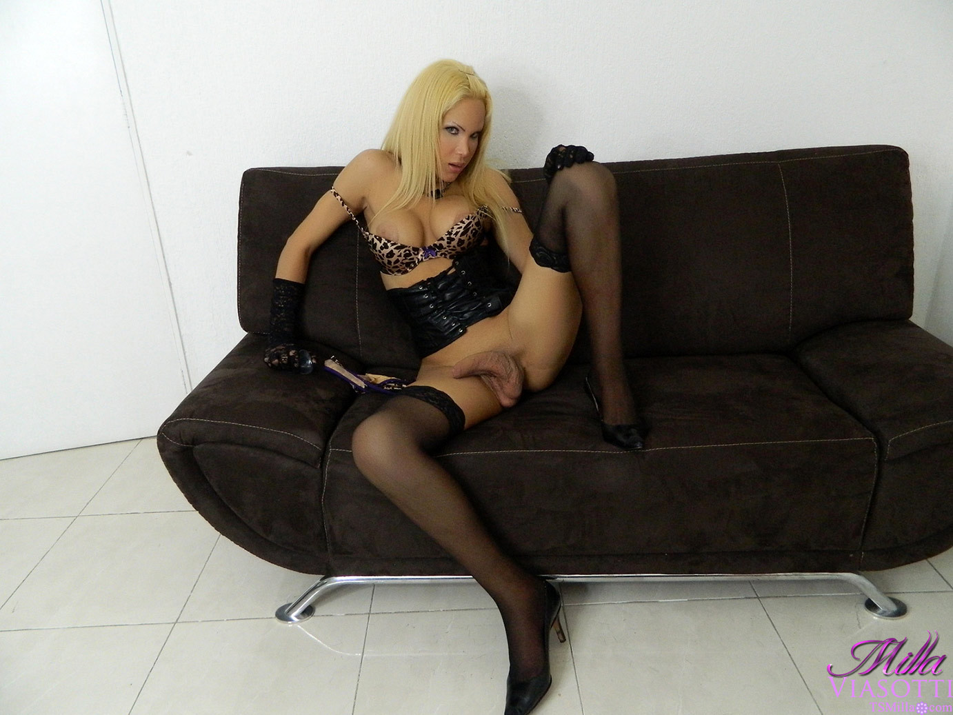 Naughty Femboy Spreads Her Long Legs And Plays With Her Penis