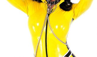 Skimpy Yellow Latex Clad T-Girl Babe