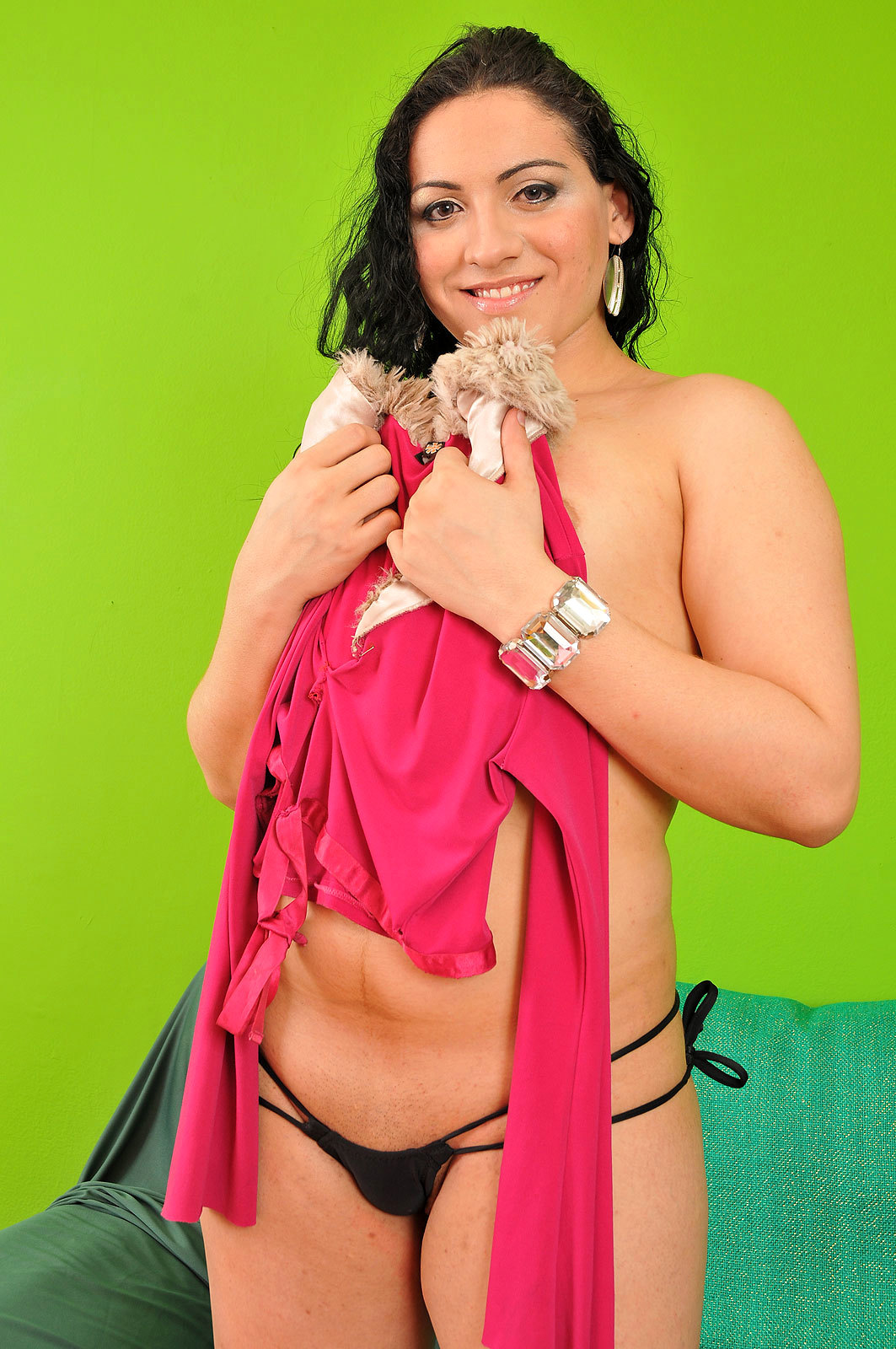 Steamy Brunette T-Girl Raissa Sampaio Strips Down Outfit