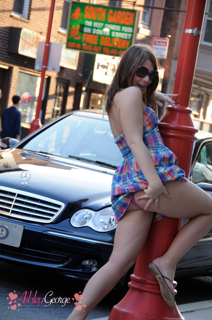 Suggestive Transsexual Teasing On The Street In Public