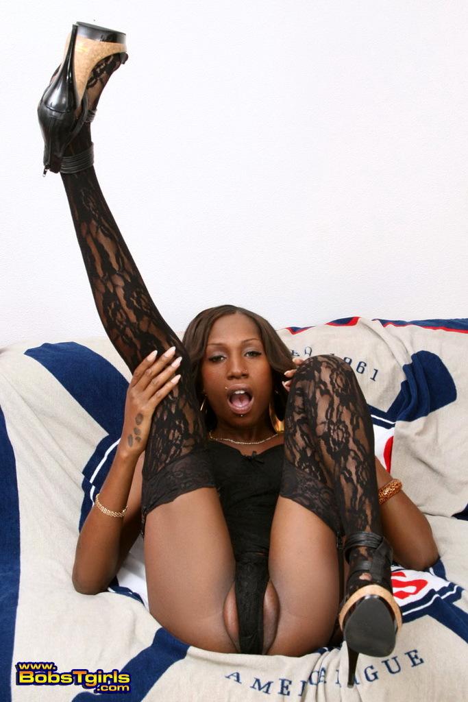 Unbelievably Seductive Ebony Transexual Tameka Posing Seductively