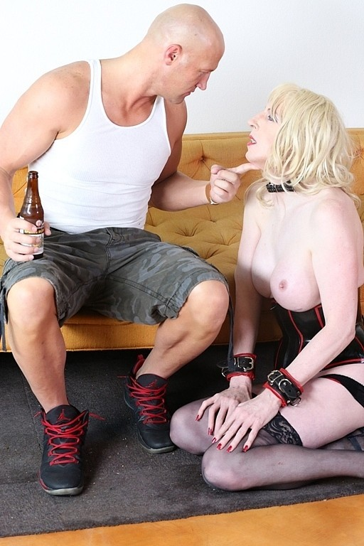 Master Christian Is Being Served By His Tall Blonde Enormous Boob